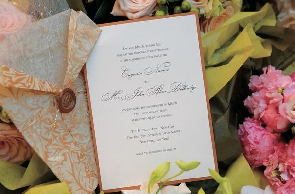 Burnt orange classic wedding invitation