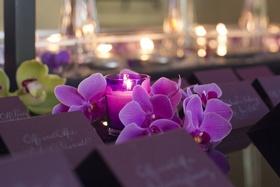 Laura Hooper Calligraphy purple escort cards