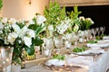 wedding reception greenery and white flower low centerpieces crystal glassware lily tulip flowers