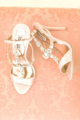 badgley mischka wedding shoes, pale blush shoes, crystal embellishments on straps