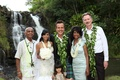 Angus Mitchell, co-owner of Paul Mitchell Systems, his bride and her family at Hawaiian wedding