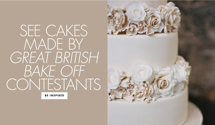see cakes made by the great british bake off contestants at a real wedding