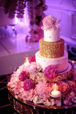 wedding cake with gold rosette design quilted rhinestone design and gold tier pink peony flowers