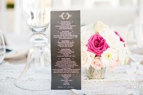 black pink and gold wedding menu, carving station, taco station, salad station, seafood station
