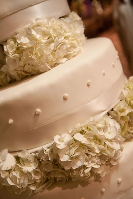 White cake with swiss dots and ribbon