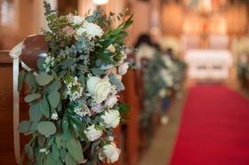 eucalyptus, white roses, greenery, accent ceremony pew