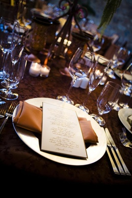 Reception tables with brown textured linens