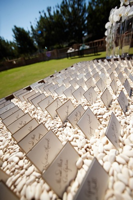 White calligraphy seating cards in white pebbles