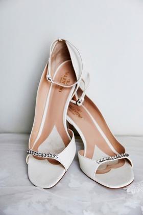 white valentino peep toe high heels pumps jewel detail on toe ankle strap designer