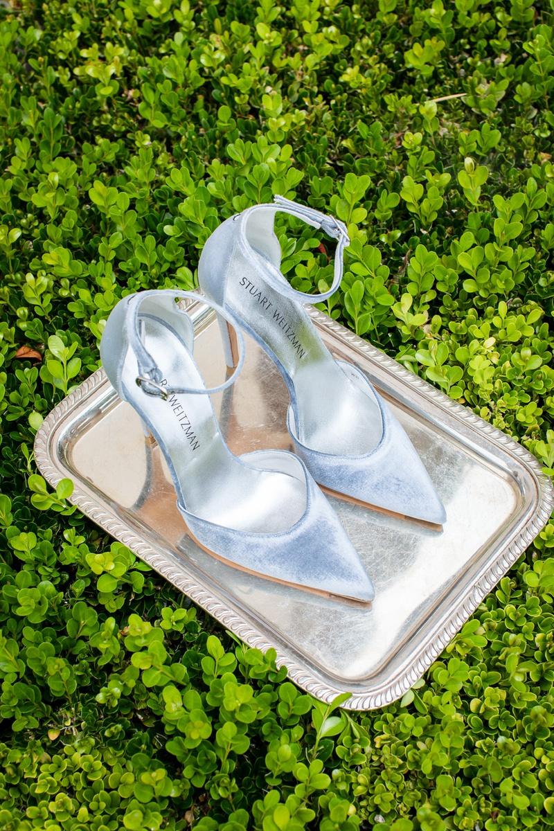 stuart weitzman bridal heels, light blue velvet, pointed toe, ankle strap