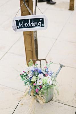 wedding sign DIY chalkboard watering can wildflowers flowers british english garden wedding