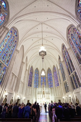 st. james chapel in Chicago with beautiful stained glass windows