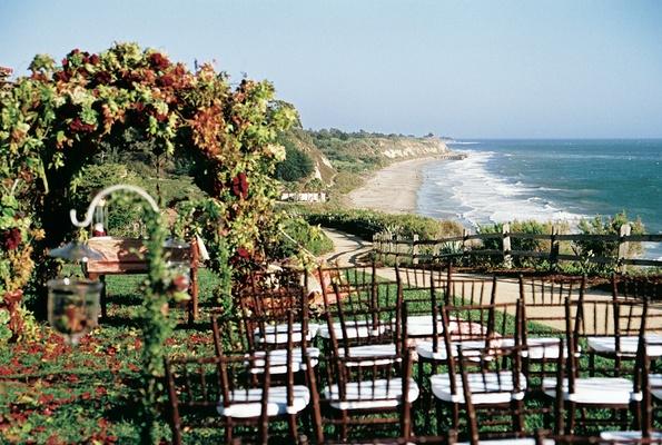Wedding ceremony on ocean bluff at Bacara Resort & Spa