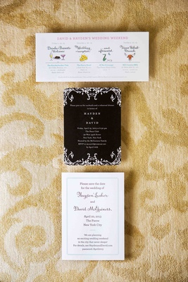 Wedding itinerary, rehearsal dinner, and save the date card