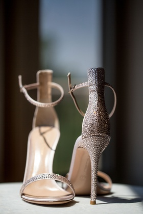 beaded stiletto sandals with ankle strap, sparkly bridal heels