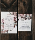 wedding invitations from minted in modern floral design in moody hues and gold specks