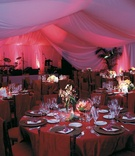 Wedding reception room with drapery walls and ceilings