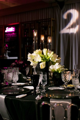 black and white tablescape for new year's eve wedding
