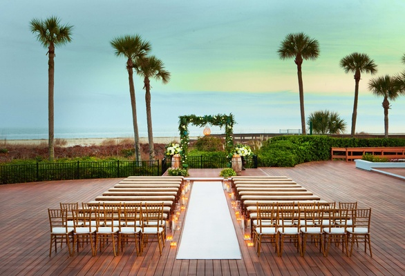 Hilton Head Island oceanfront deck wedding ceremony