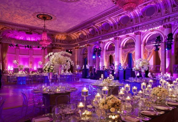 Opulent New York City Wedding with Violet Lighting Inside Weddings