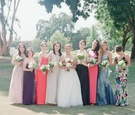 Bride with not matching bridesmaids in Ojai