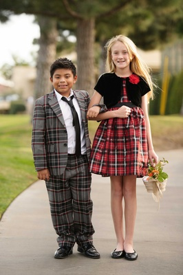 Carol Leifer and Lori Wolf's adopted son Bruno and their niece Lilly flower girl ring bearer plaid
