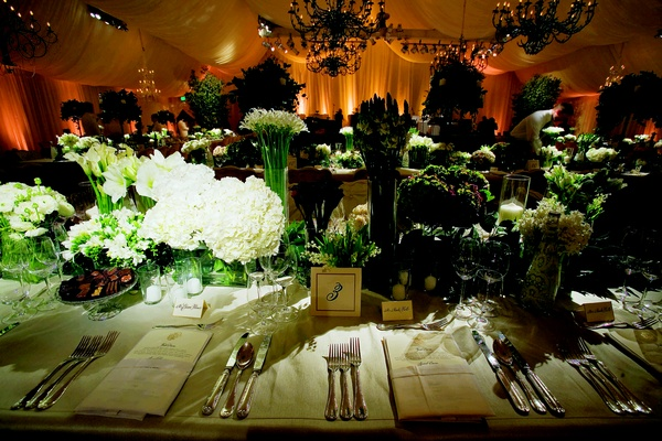 Tented reception with natural colors and linens