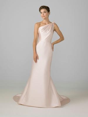Azul by Liancarlo 2018 bridal collection blush one shoulder wedding dress draped bodice silk satin