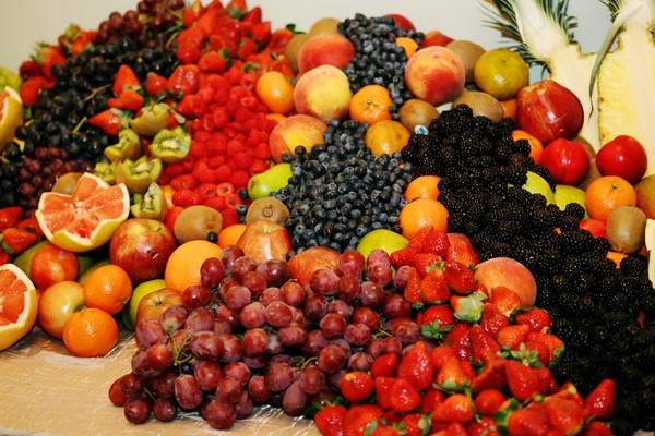 Cornucopia of fruit at wedding reception