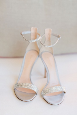 Barbie Blank wedding shoes rhinestones sandals high heels bridal silver grey