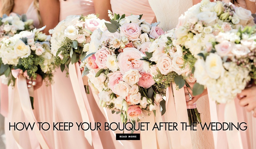 how to preserve your bridal bouquet, flatten in book, dip in wax, hang upside down