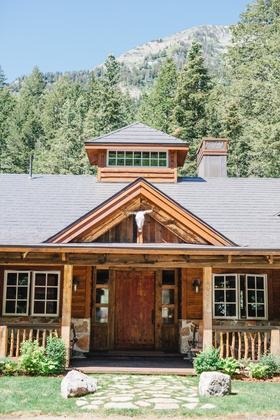 Wedding reception in Sundance, Utah with animal skull and wood beams rock siding