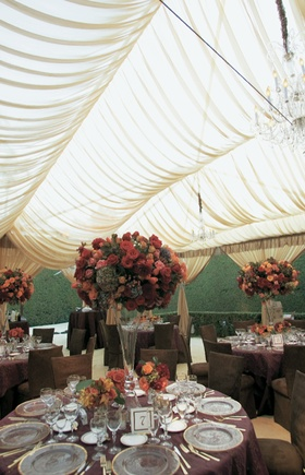 Wedding reception decorations in autumn color palette
