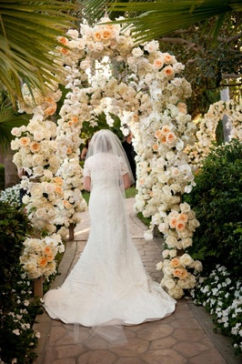 Cotton lace bridal gown and cathedral-length