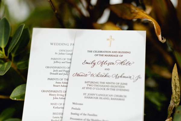 wedding ceremony program christian chapel church wedding gold letterpress cross at top