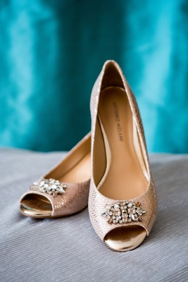 badgley mischka wedding shoes, rose gold snakeskin heels