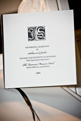 Ceremony program in black and white