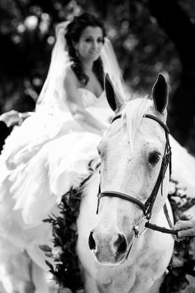 Black and white photo of bride on horseback