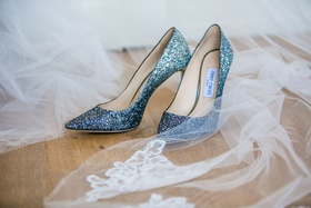 wedding shoes bridal heels jimmy choo light blue glitter pumps with veil lace applique