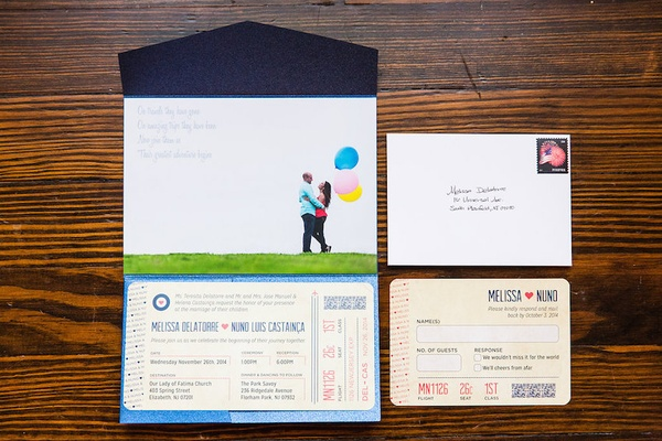 Wedding invitation suite with components that looked like airline tickets