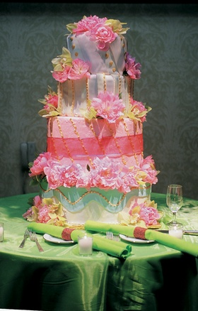 Four layer confection with bright colors and designs