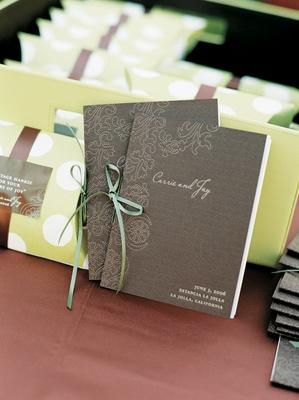 Wedding ceremony program of events in brown
