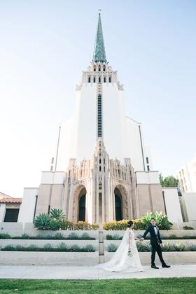 wedding ceremony church venues in los angeles westwood united methodist church bride groom in front