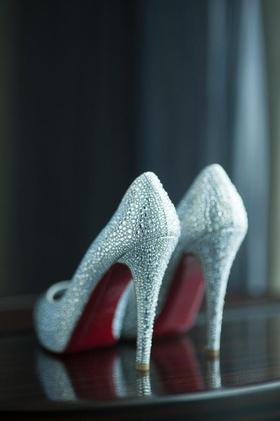 Christian Louboutin sparkle crystal bridal heels