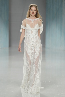 GALA Galia Lahav Spring 2018 lacy gown illusion details straps V-neck illusion shawl lace details