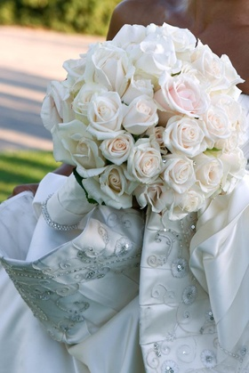 Dozens of roses composed the bride's bouquet