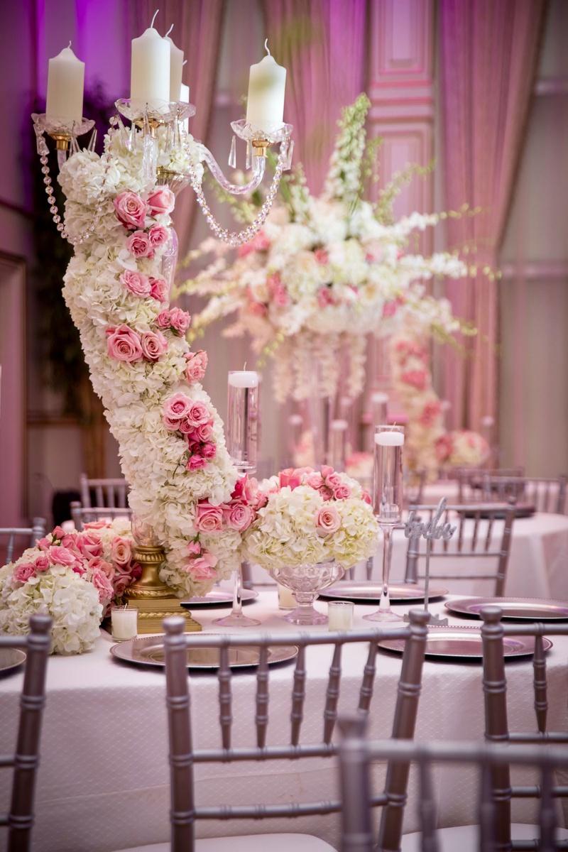ashley alexiss wedding reception centerpiece grey silver chairs white pink flower hydrangea rose