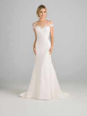 Liancarlo Azul 2018 bridal collection tulle fit and flare gown with cap sleeves illusion neckline