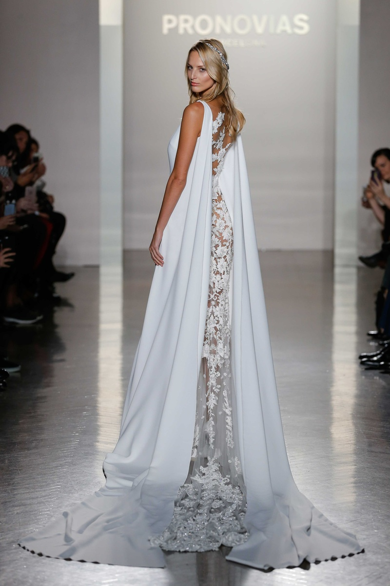Pronovias 2017 Niara dramatic crepe embroidery tulle bridal cape excess  fabric wedding dress
