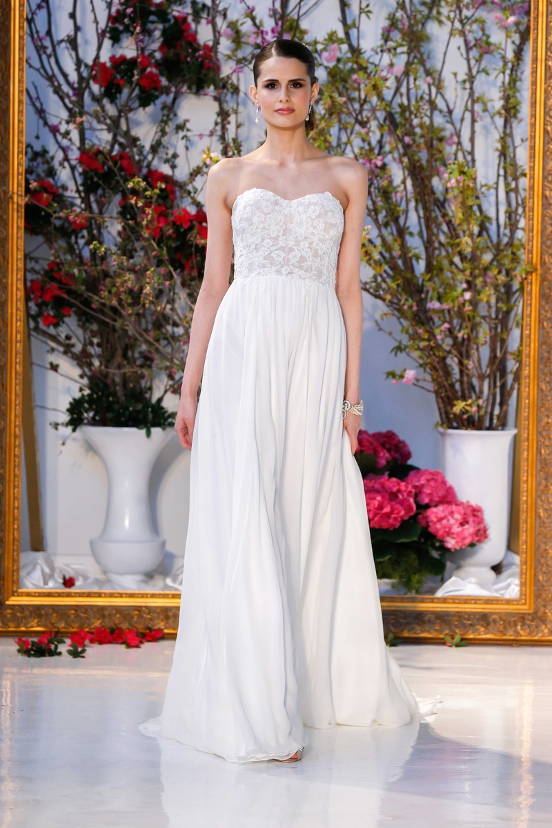 Anne Barge Collection Spring 2017 Lily Strapless Wedding Dress Lace Bodice Silk Chiffon Skirt: Chagne Strapless Wedding Dresses At Reisefeber.org